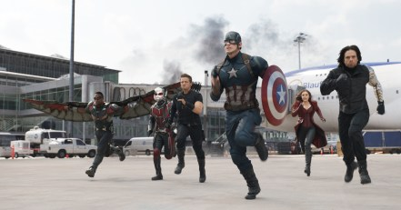 Falcon, Ant-Man, Hawkeye, Captain America, Scarlet Witch & Winter Soldier in Captain America: Civil War
