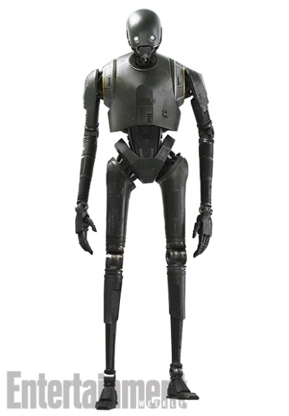 "K-2SO in Detail Here's a full-body shot of the newest Star Wars droid — a security robot known as K-2SO (Kaytoo Esso), who is voiced and performed via motion-capture by Alan Tudyk (Firefly.) Compare his gunmetal gray surface to the shimmering plating of ""Goldenrod"" C-3PO, and you'll see the difference between a utilitarian droid like Kaytoo and a protocol droid like Threepio. Kaytoo wasn't built to socialize. He's as brusque and blunt as he is strong. ""He has a very dry delivery,"" Edwards says. ""He doesn't realize what he's saying is very funny."""