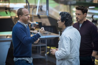 Joss Whedon, Mark Ruffalo & Robert Downey Jr. on set Avengers: Age of Ultron