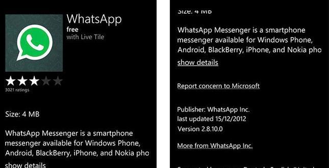 WhatsApp disponible para Windows Phone 8