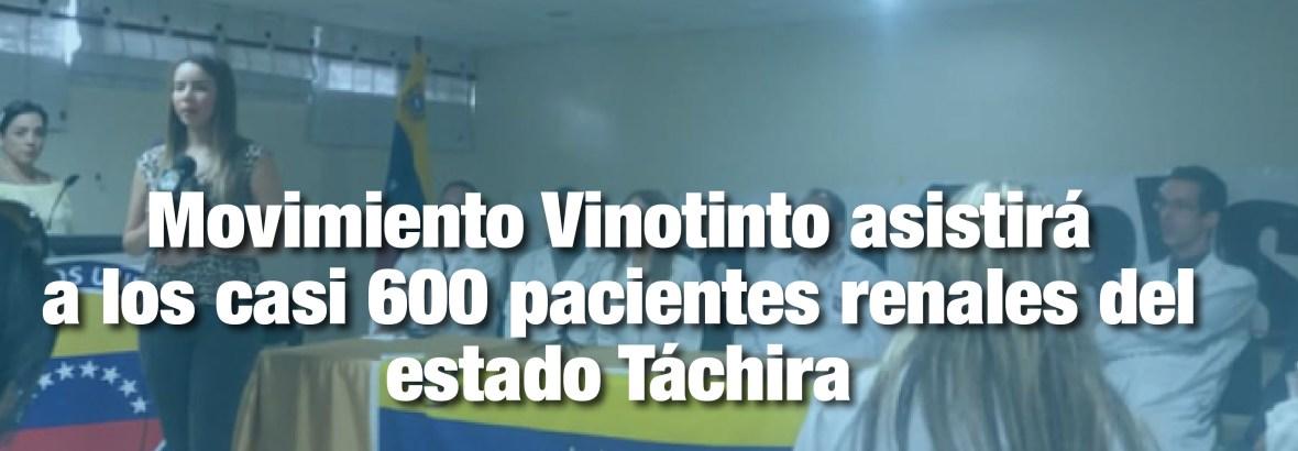Movimiento Vinotinto asistirá jurídicamente a los casi 600 pacientes renales del estado Táchira quienes se ven afectados por la falta de insumos en las unidades de diálisis.