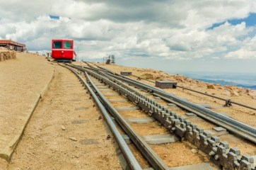 A cog railway is one of the ways to venture to the top of Pikes Peak.