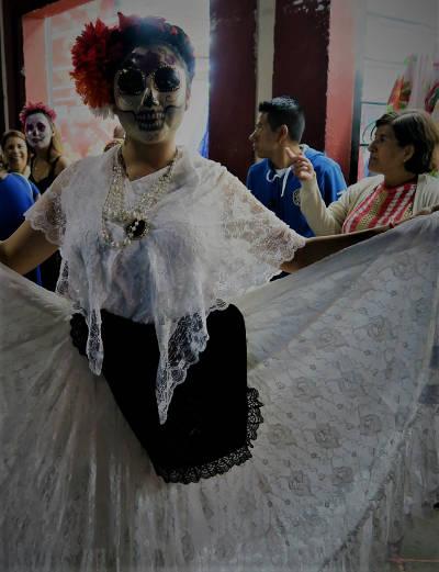 Catrina Parade zum Dia de Muertos in Querétaro, Mexiko
