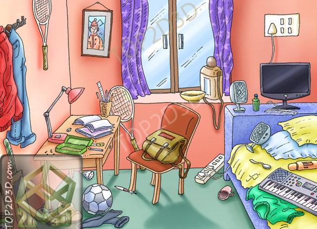 messy room  Top2D3D