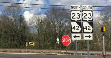 US 23 GA 42 road signs in Locust Grove