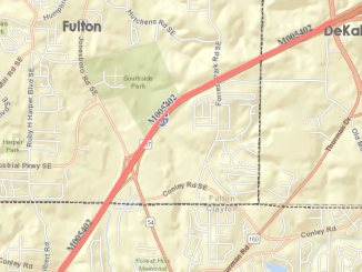 Map of I-285 repaving between I-75 and I-675