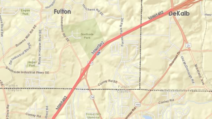Map of I-285 repaving between I-75 and I-675