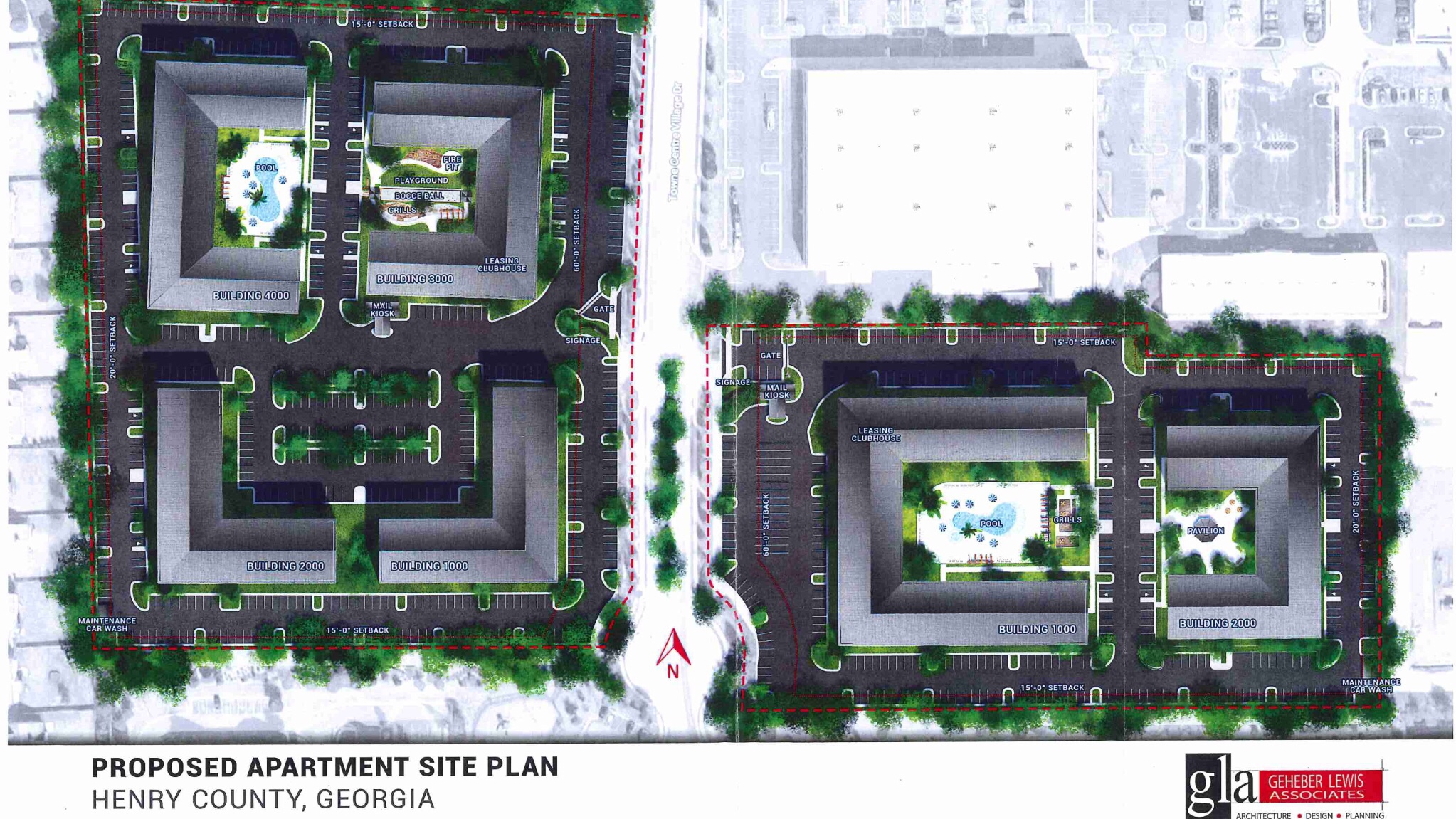 Photo of proposed site layout at Adler Properties apartments on Towne Center Village Drive