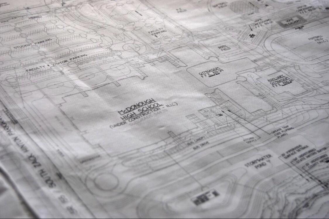 Construction blueprints for McDonough High School