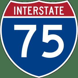 I-75 blue shield road sign