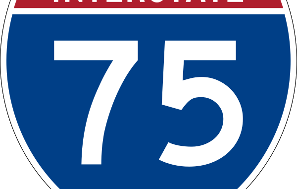 Interstate 75 blue shield road sign