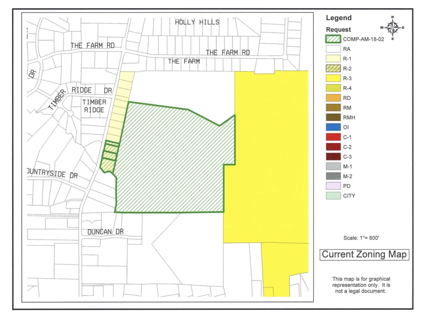 Map of North Ola Henry 163 LLC rezoning request