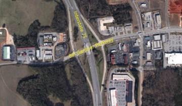 Aerial photo showing I-75 at Bill Gardner Parkway in Locust Grove (Georgia DOT photo)
