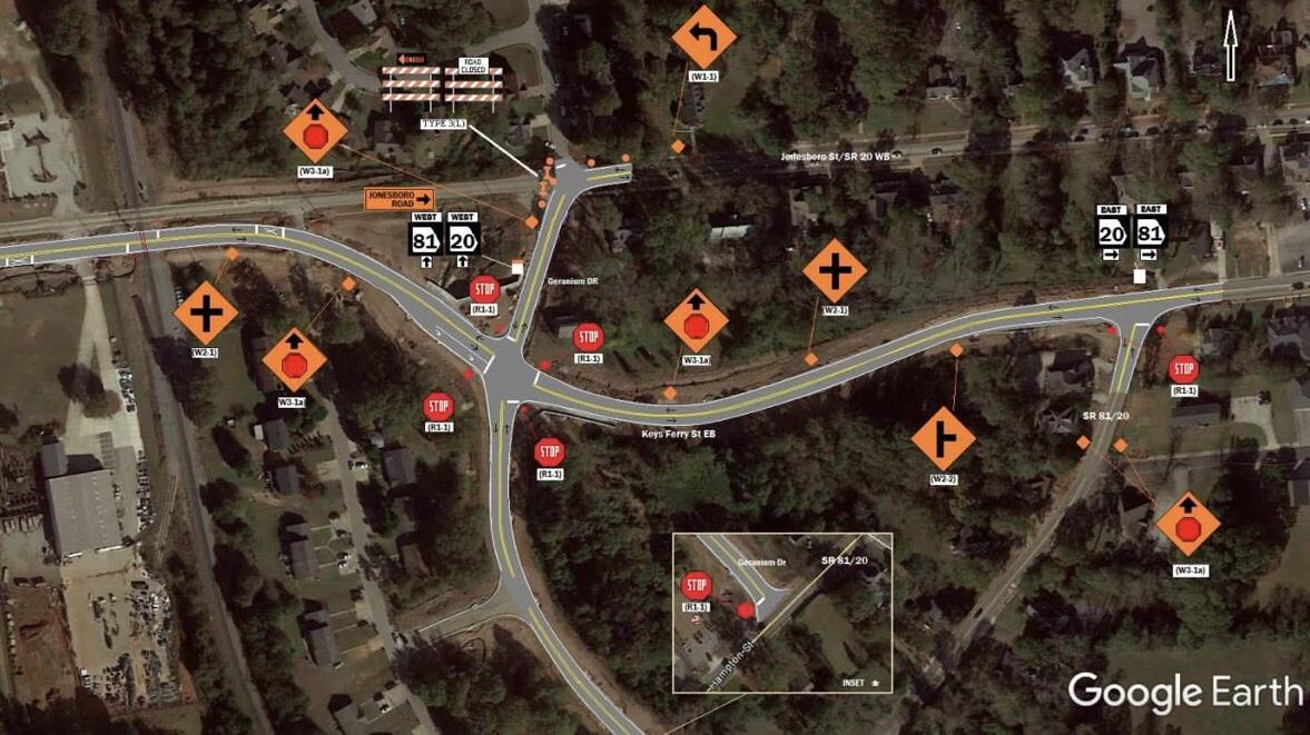 Map of Jonesboro Road traffic shift April 2019