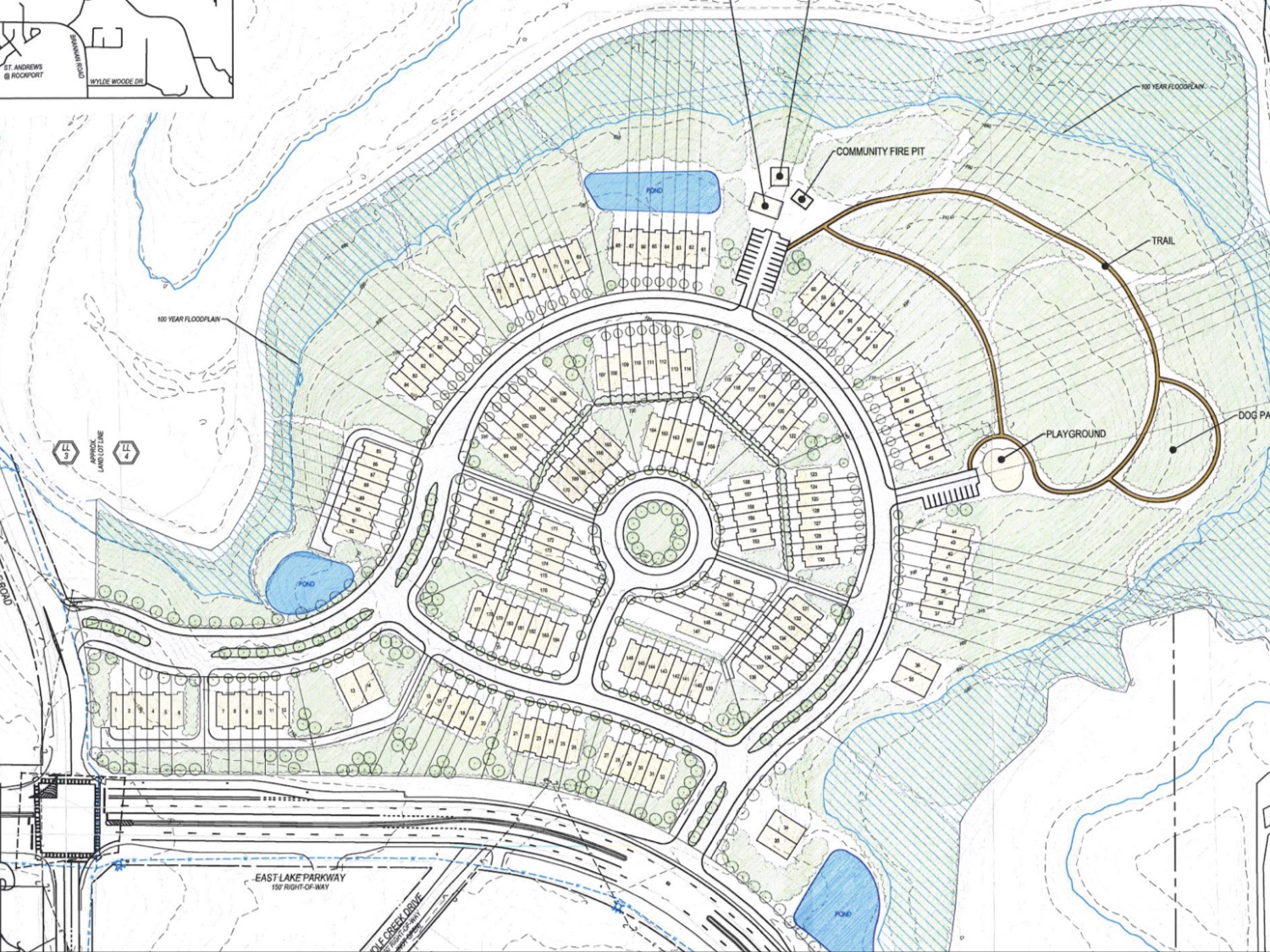Concept layout for East Lake at Springdale development (Moore Bass Consulting photo)
