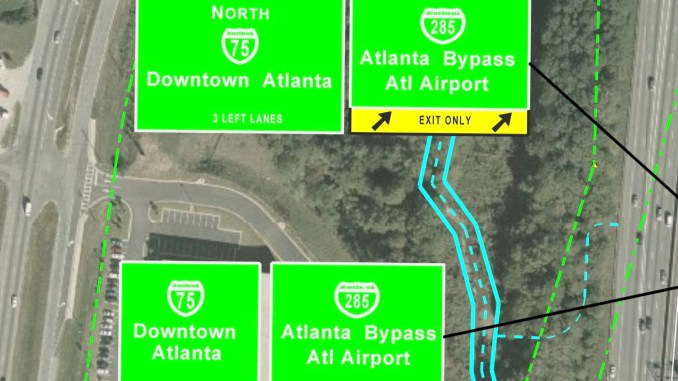 Concept signage guide for I-75 collector distributor lanes (Georgia DOT photo)