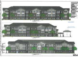 Photo of building elevations for Locust Grove senior apartments