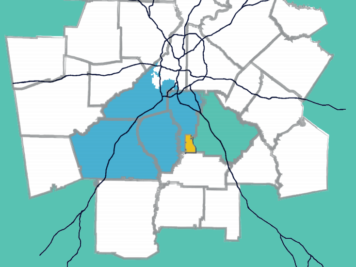 Map of metro Atlanta showing the location of the Henry County Megasite