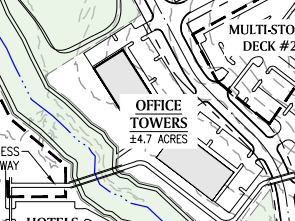 Reeves Creek concept site plan excerpt of office towers
