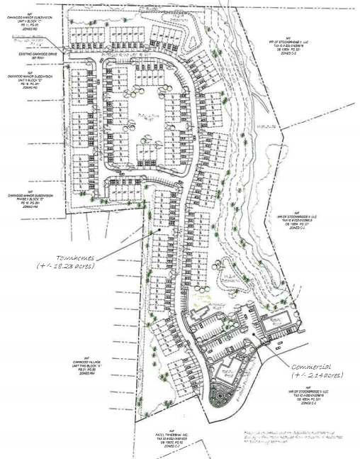 Concept site plan of Hudson Bridge Road townhouses (applicant photo)