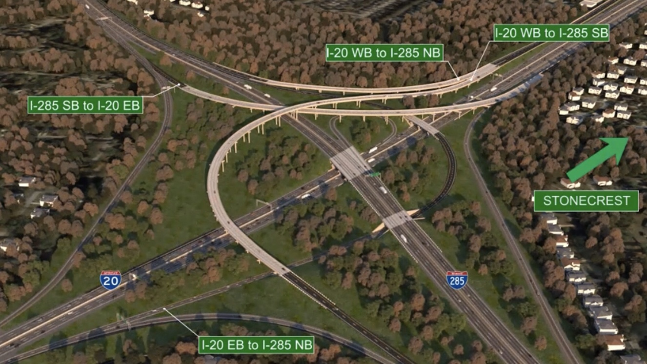 Concept rendering for proposed improvements at I-20 and I-285 east (Georgia DOT photo)