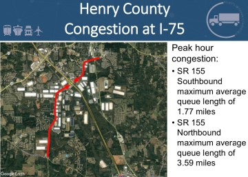 Presentation slide showing congestion queues on SR 155 (Atlanta Regional Commission photo)