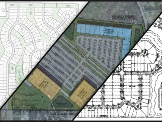Photo showing three open rezoning requests as of December 2019 (staff collage)