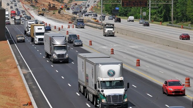 Photo of trucks on I-75 at I-675 during express lanes construction (Trucks.com photo/ Brian Hadden)