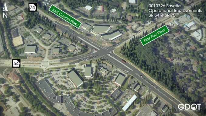 Concept rendering of Peachtree City displaced left-hand turn intersection (Georgia DOT photo)