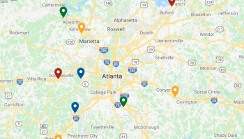 Map of industrial projects throughout metro Atlanta submitted between November 2019 and January 2020 (staff map)