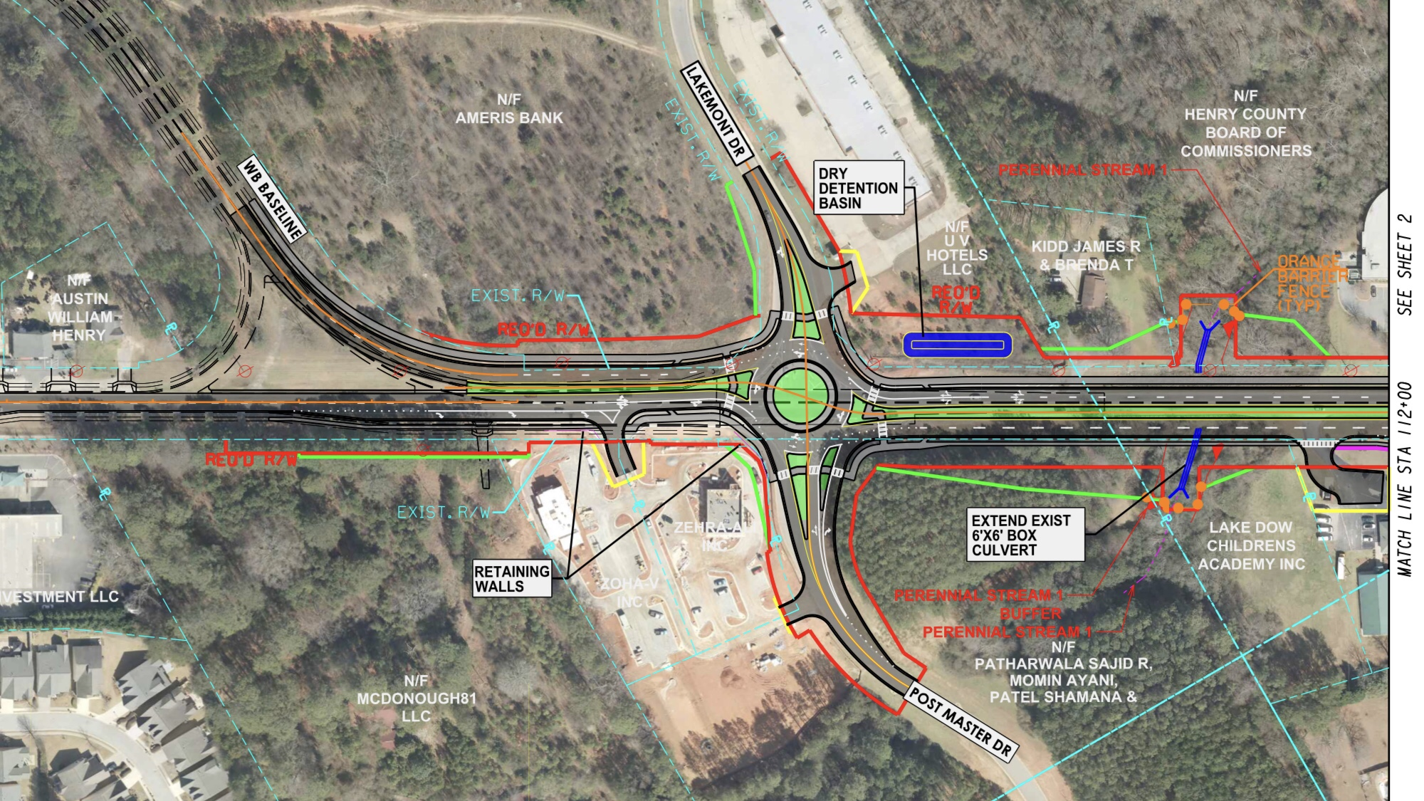 Concept layout for state route 81 widening project at Postmaster Drive (Georgia DOT photo)