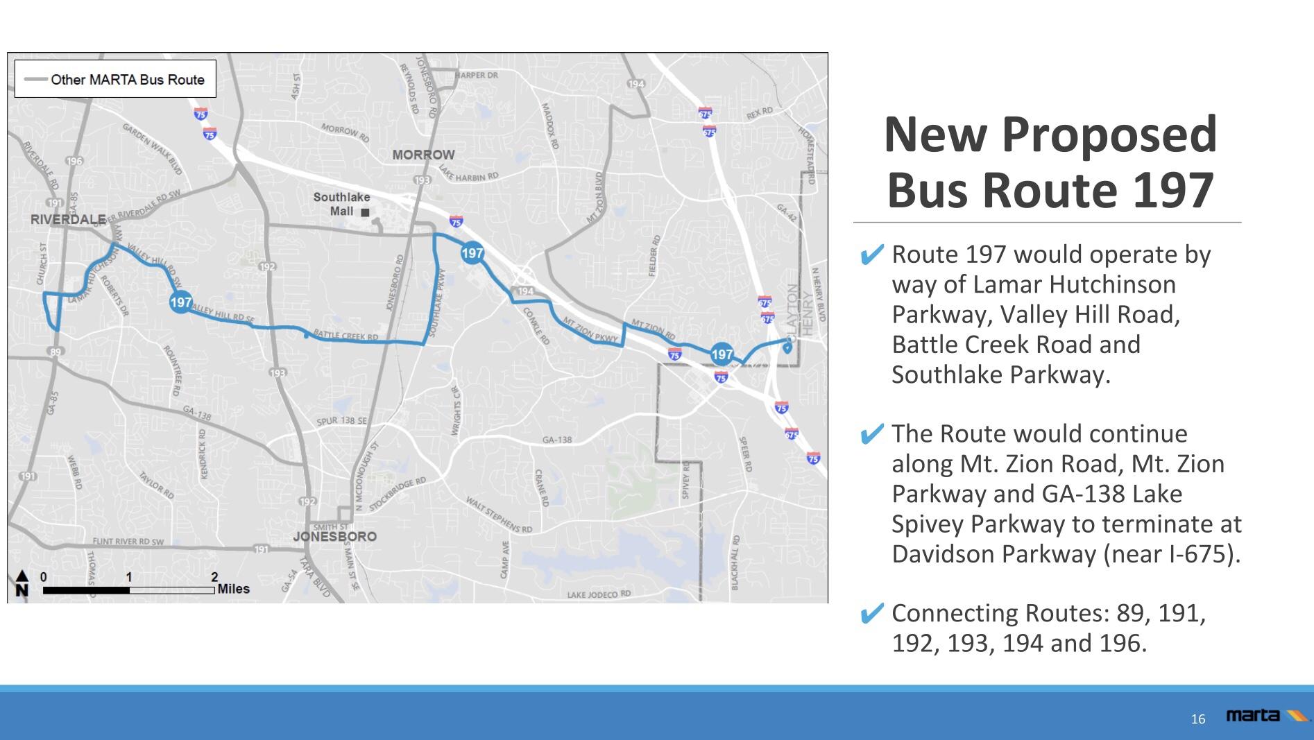 Presentation slide showing proposed MARTA bus route 197 (MARTA photo)