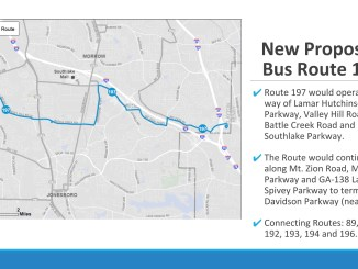 Presentation slide showing proposed MARTA bus route 197 (MARTA photo)