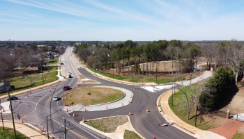 Drone photo of Jonesboro Road at Doris Street under construction in February 2020 (staff photo)