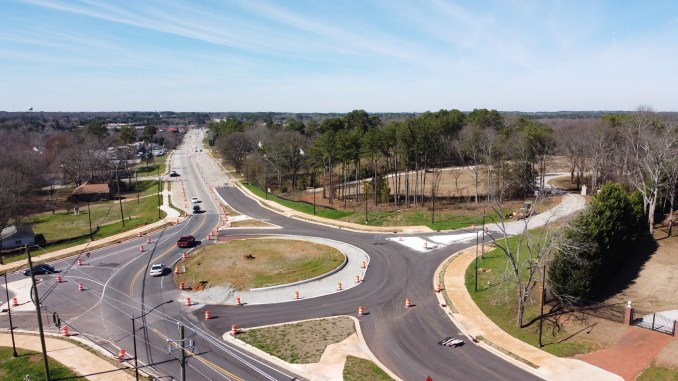 Drone photo of Jonesboro Road at Doris Street under construction in February 2020 (staff photo)