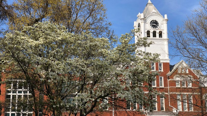 Photo of Henry County Courthouse in spring (staff photo)