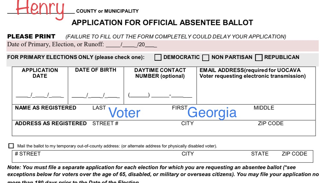 Photo of an absentee ballot application (Georgia photo)