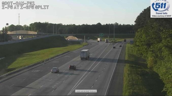 Traffic camera photo of I-75 at I-675 on April 20, 2020 (Georgia DOT camera)