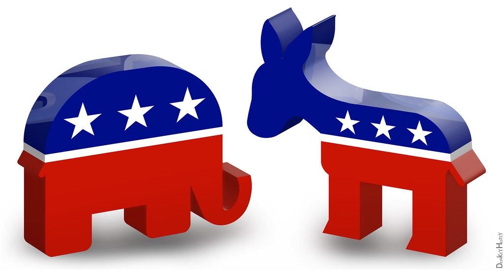 Photo of Republican elephant and Democrat donkey (Donkey Hotey / Creative Commons photo)