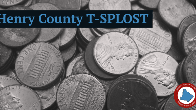 Photo of pennies with the title Henry County T-SPLOST (staff photo)