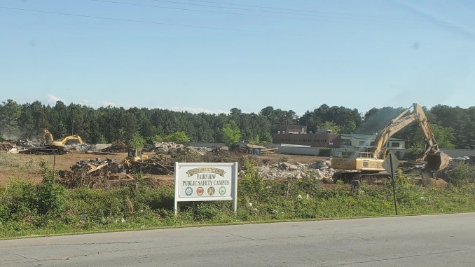 April 2020 photo of site demolition at Fairview Public Safety Complex (Mark B. photo)