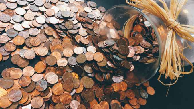 Photo of US pennies on a table (Wordpress photo)