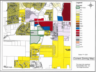 Zoning map showing Chambers Road and Jonesboro Road (Henry County photo)