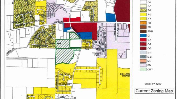 Zoning map showing Chambers Road and Jonesboro Road (Henry County photo)