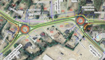 Concept layout of dual roundabouts on state route 20 (Georgia DOT photo)