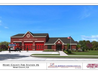 Concept front elevation for the rebuild of fire station 6 (J.R. Bowman Construction Co. photo)