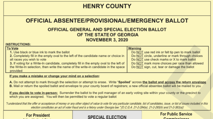 Photo of a sample ballot for the November 2020 election (Secretary of State photo)