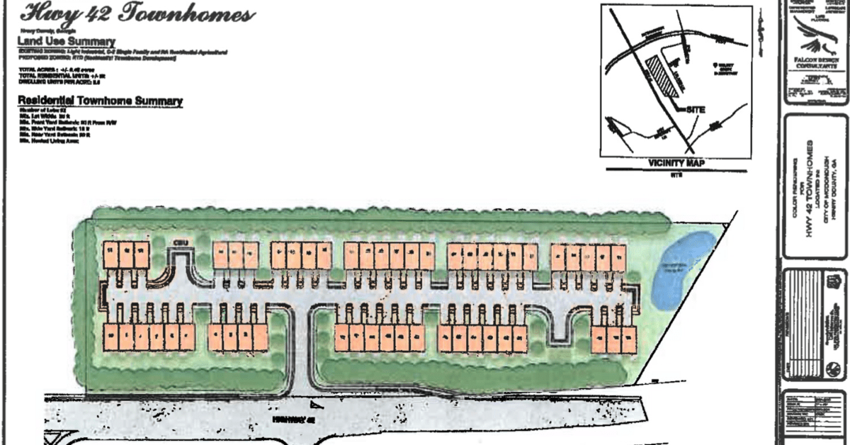 Concept site plan for highway 42 townhomes (Falcon Design photo)