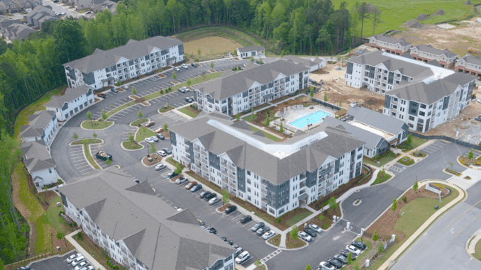 Aerial photo of Crofthouse Fairburn Apartments (McShane Construction Company photo)