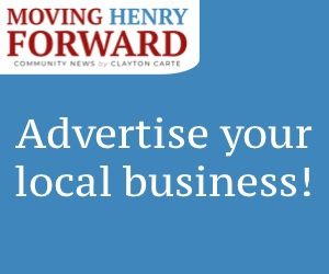 """Advertise your local business!"" on blue background"